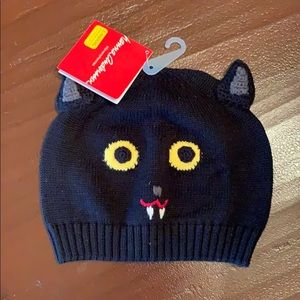 HANNA ANDERSSON Knitted black bat hat.